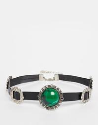 Кожаное ожерелье-чокер с камнем и пряжками ASOS - Мульти