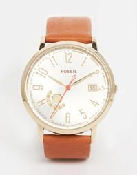 Золотистые часы со светло-коричневым кожаным ремешком Fossil - Рыжий