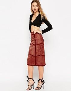 Замшевая юбка-карандаш с декоративной строчкой ASOS - Лосось
