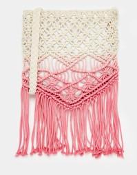 Розовая сумка через плечо с эффектом омбре, отделкой кроше и кисточкам South Beach