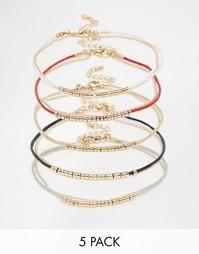 Набор браслетов с золотистыми бусинами ASOS - Мульти