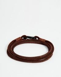 Коричневый кожаный браслет в несколько оборотов Seven London