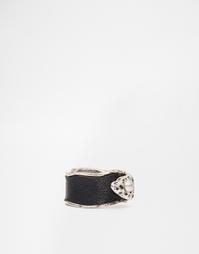 Кольцо из металла и кожи ASOS - Шлифованный серебряный