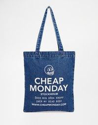 Джинсовая сумка-шоппер с oversize-логотипом Cheap Monday - Синий лув