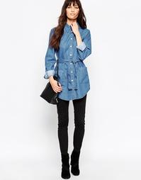 Выбеленная джинсовая рубашка с ремнем ASOS - Синий выбеленный
