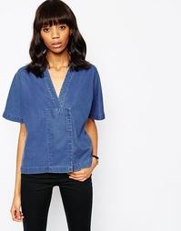 Двубортная джинсовая рубашка со скрытой застежкой на кнопки ASOS