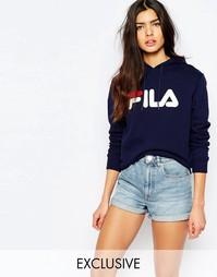 Oversize-худи с большим логотипом Fila - Темно-синий