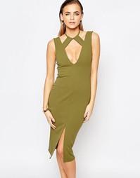 Платье с разрезом спереди Boohoo - Оливковый