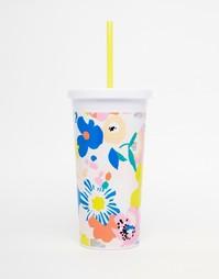Стакан с соломинкой и цветочным дизайном Ban.Do - Мульти