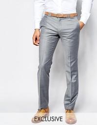 Фланелевые брюки на свадьбу суперзауженного кроя Noak - Светло-серый