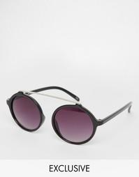 Круглые солнцезащитные очки с металлической планкой Jeepers Peepers