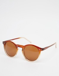Круглые солнцезащитные очки в коричневой оправе ASOS - Коричневый