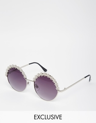 Круглые солнцезащитные очки с металлическими цветами AJ Morgan
