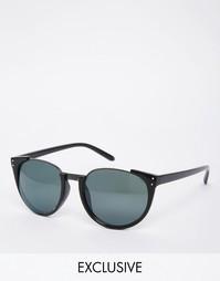 Круглые солнцезащитные очки в металлической полуоправе AJ Morgan