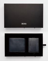 Подарочный набор с кожаным кошельком и визитницей Hugo Boss - Черный