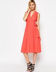 Льняное платье-рубашка без рукавов с поясом ASOS - Розовый