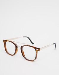 Квадратные очки с прозрачными стеклами и черепаховой оправой Spitfire
