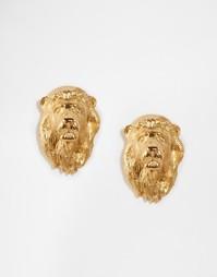 Серьги-гвоздики в виде львиной головы Bill Skinner - Золотой