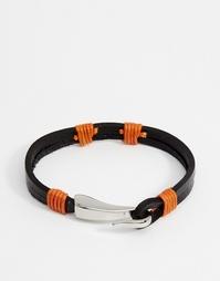 Кожаный браслет с контрастной строчкой Seven London