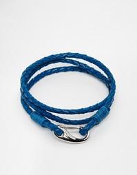 Синий плетеный браслет из кожи Seven London - Синий