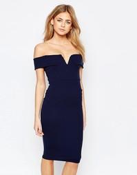 Облегающее платье c приспущенными плечами Boohoo - Темно-синий