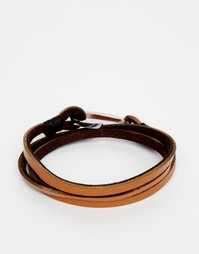 Коричневый кожаный браслет с крючком Seven London - Рыжий