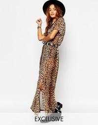 Чайное платье макси с разрезом спереди и леопардовым принтом Milk It