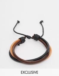 Перекрученный кожаный браслет Reclaimed Vintage - Коричневый