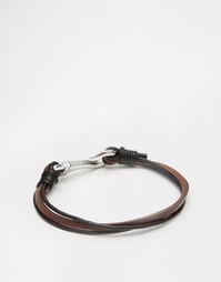 Кожаный браслет с крюком Seven London - Коричневый