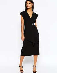 Современное асимметричное платье миди с ремешком ASOS - Черный