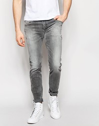 Серые стретчевые джинсы скинни с потертостями Diesel Sleenker 672J