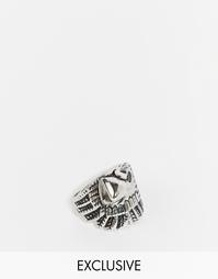 Серебряное кольцо с головой орла Reclaimed Vintage - Серебряный