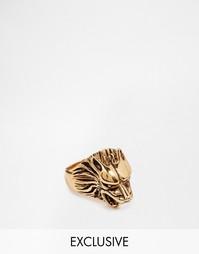Золотое кольцо с волком Reclaimed Vintage - Золотой