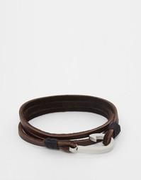 Плетеный кожаный браслет Seven London - Коричневый