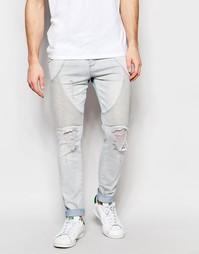 Супероблегающие байкерские джинсы SikSilk - Легкий стираный эффект