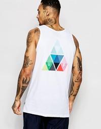 Майка с логотипом в виде треугольной призмы сзади HUF - Белый