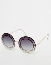 Большие круглые очки с контрастной планкой ASOS - Золотой
