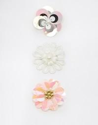 Набор брошей в виде цветка с пайетками ASOS - Мульти