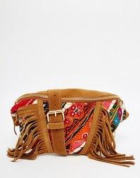 Фестивальная сумка-кошелек на пояс из замши с ручной вышивкой Park Lan