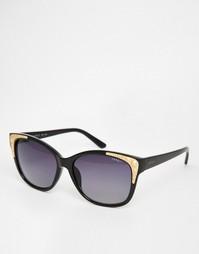 Солнцезащитные очки кошачий глаз с золотистой отделкой Esprit - Черный