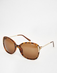 Большие солнцезащитные очки с металлической отделкой Esprit - Гавана