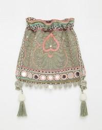 Сумка через плечо с вышивкой, дисками и кисточками Star Mela