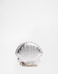 Серебристый кошелек для монет в форме ракушки Skinnydip - Серебряный