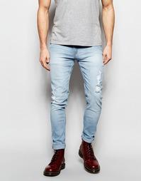 Голубые стретчевые рваные джинсы скинни Cheap Monday - Броский синий