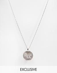 Ожерелье с подвеской-монетой Reclaimed Vintage - Серебряный