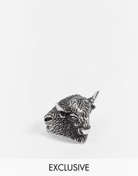 Серебристое кольцо с буйволом Reclaimed Vintage - Серебряный