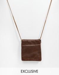 Ожерелье с кожаным кошельком Reclaimed Vintage - Коричневый