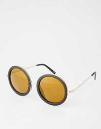 Черепаховые круглые солнцезащитные очки в стиле 70‑х Monki - Черный
