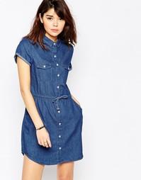 Джинсовое платье-рубашка с коротким рукавом Brave Soul - Деним