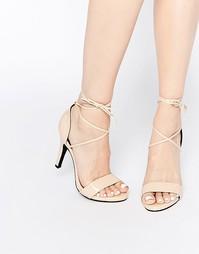 Бежевые сандалии на каблуке с завязкой Glamorous - Телесный